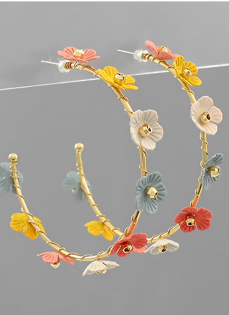 Floral Feel Delicate Multi And Gold Hoops