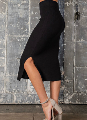 Kayla Knit Black Midi Skirt
