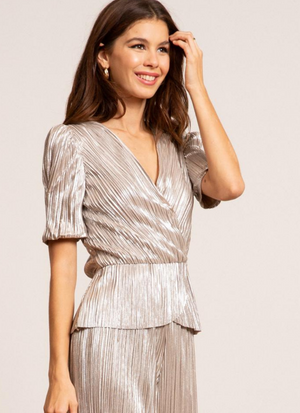 Bianca Metallic Pleated Wrap Top