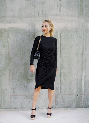 Ciara Cinch Black Fitted Dress