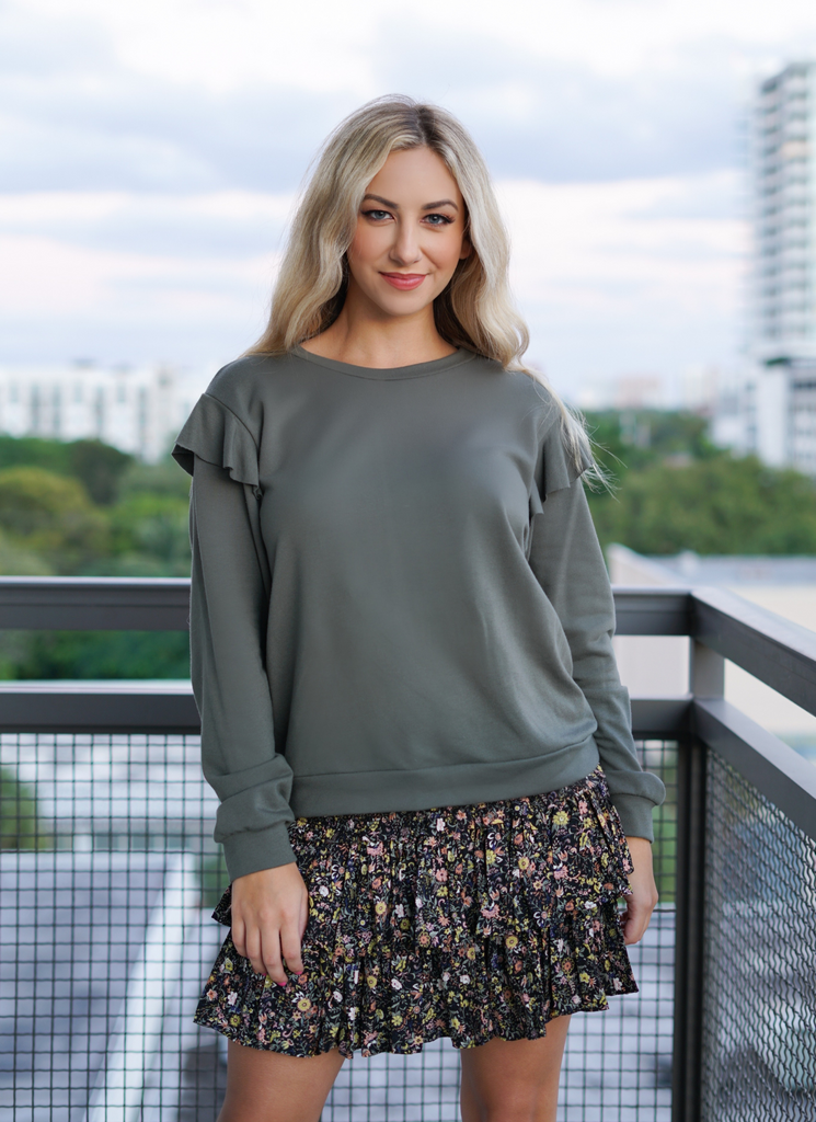 Hunter Green Ruffle Detail Long Sleeve Top