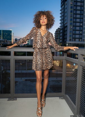 Jennings Leopard Print Smocked Dress