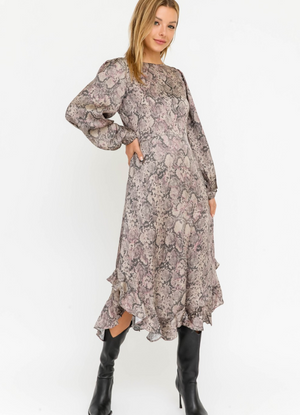 Taupe Animal Ruffle Bottom Longsleeve Dress