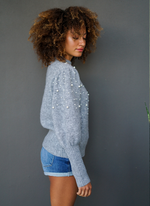Winslow Pearl Embellished Mock Knit Sweater
