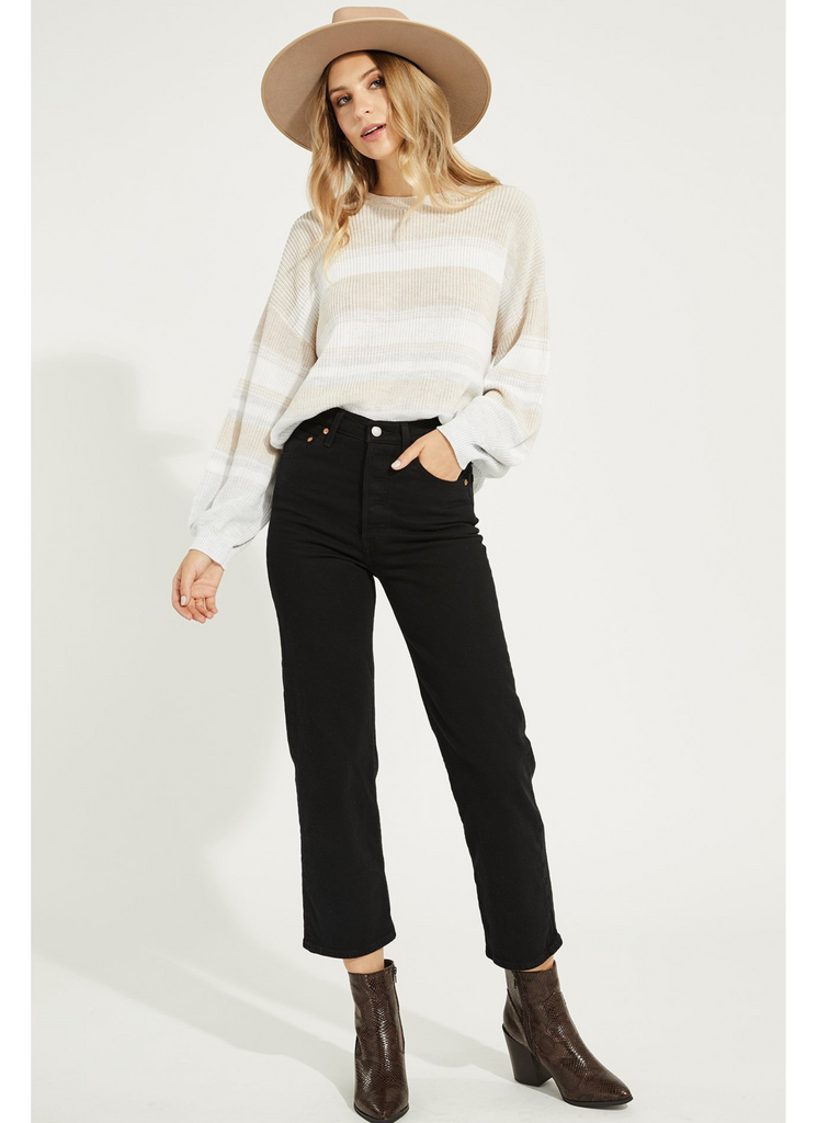 Fonda Oatmeal And White Stripe Sweater