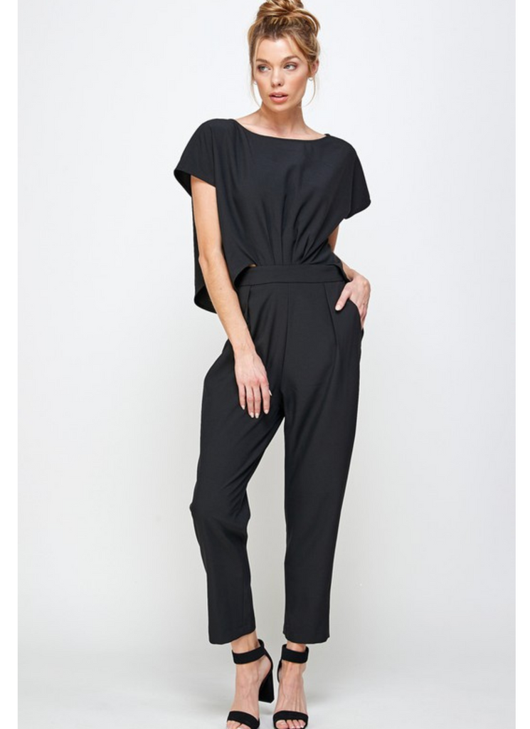 Connect To Me Black Open Back Jumpsuit (Preorder)