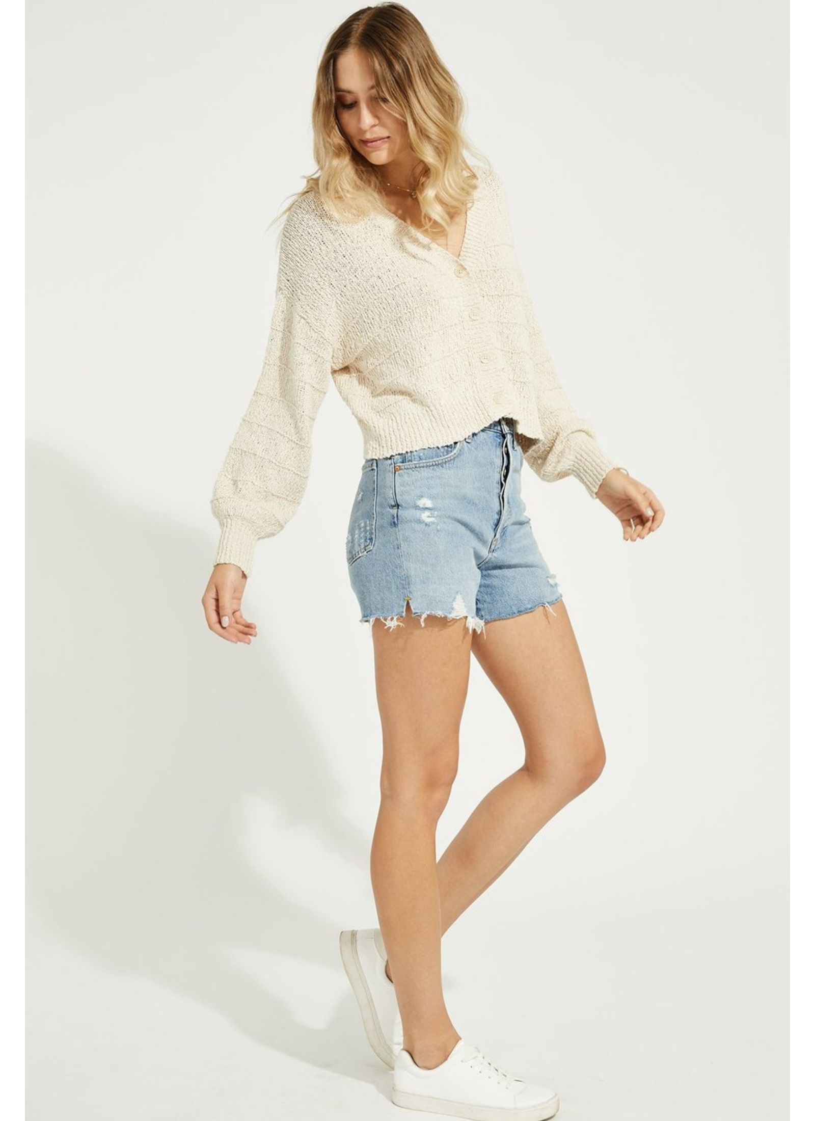 Melody Cream Button Cardigan