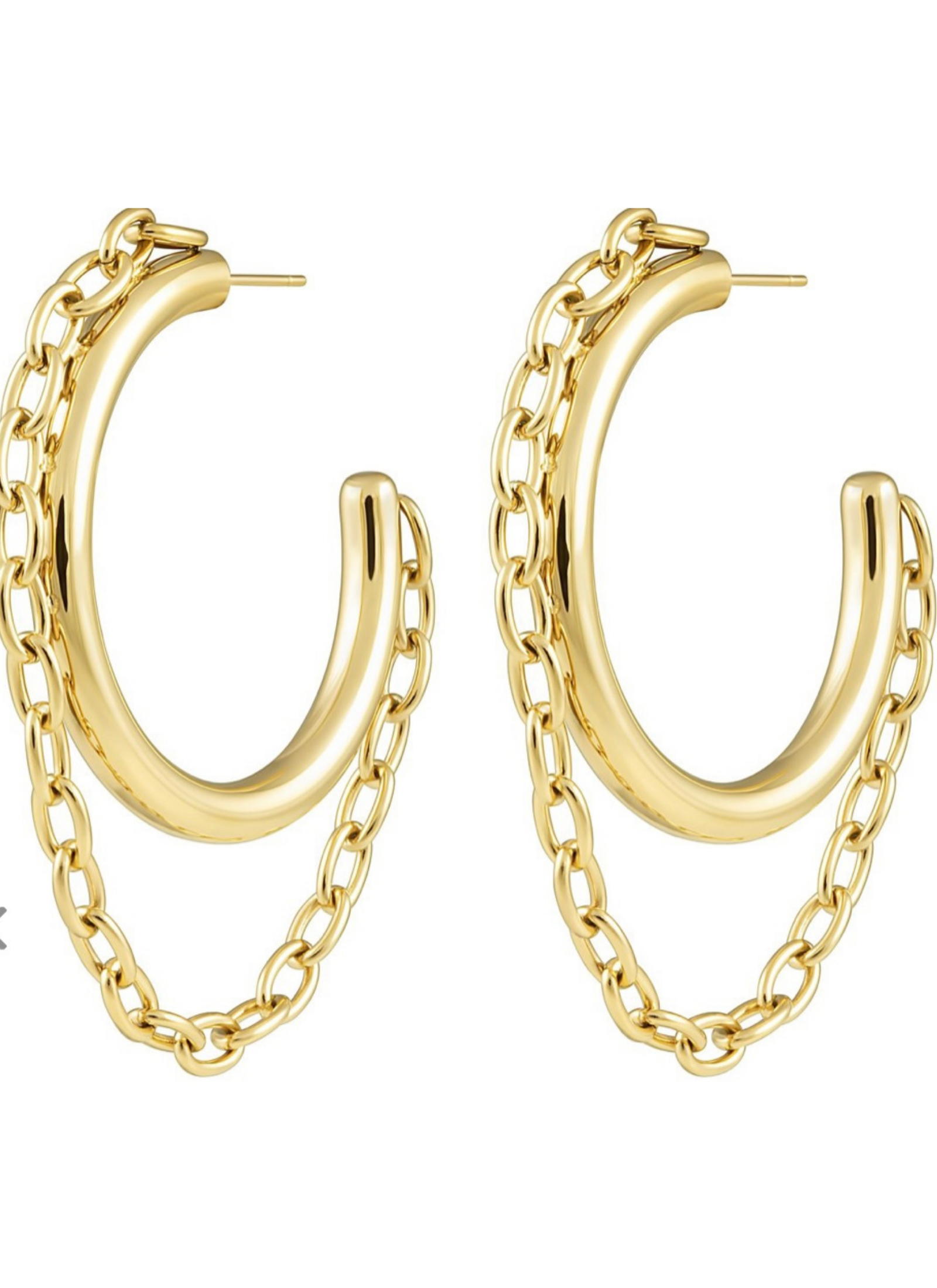 Gianna Chain Gold Hoops