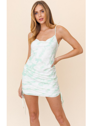 Mint Too Be Tie Scrunch Detail Mini Dress