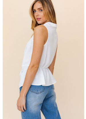 Willow White Twist Button Up Top