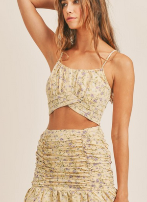 Let The Sun Shine Flowers Tiered Ruffle Skirt