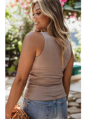 Fitted V Neck Tank (Taupe)
