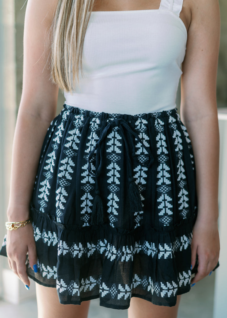 Arrow Embroidered Drawstring Mini Skirt