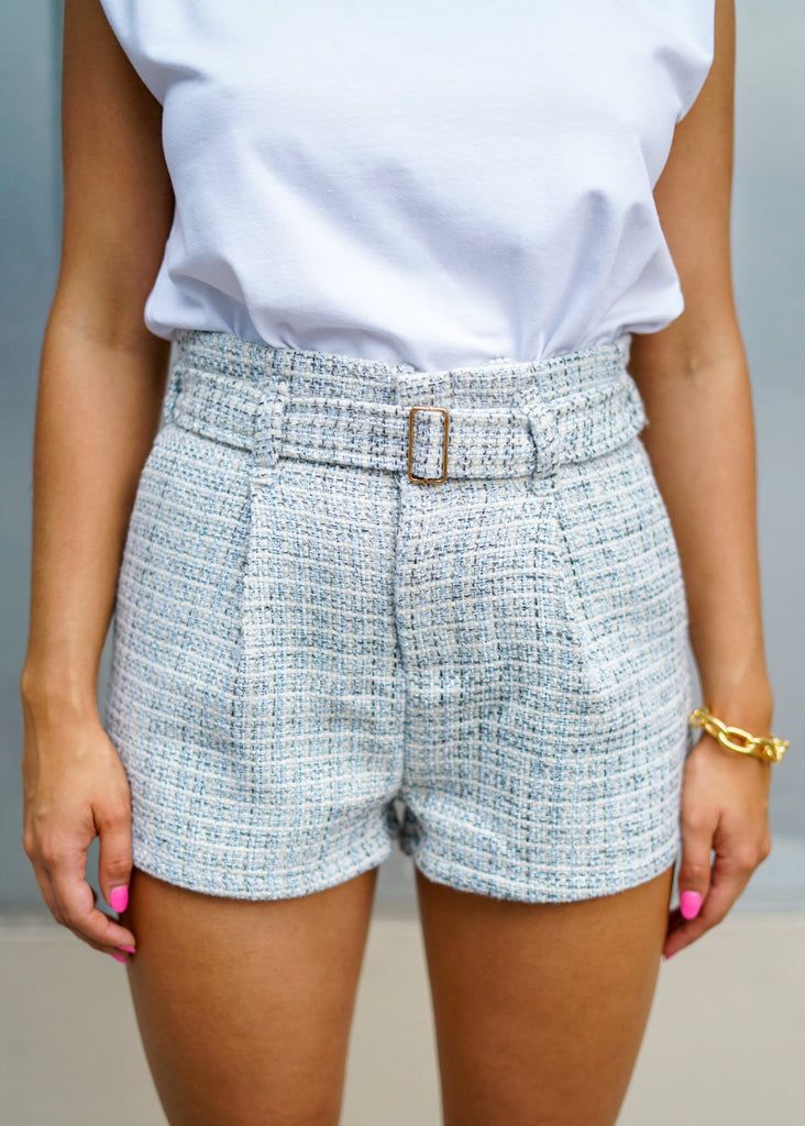 Parisian Tweed Blue And White Belted Shorts
