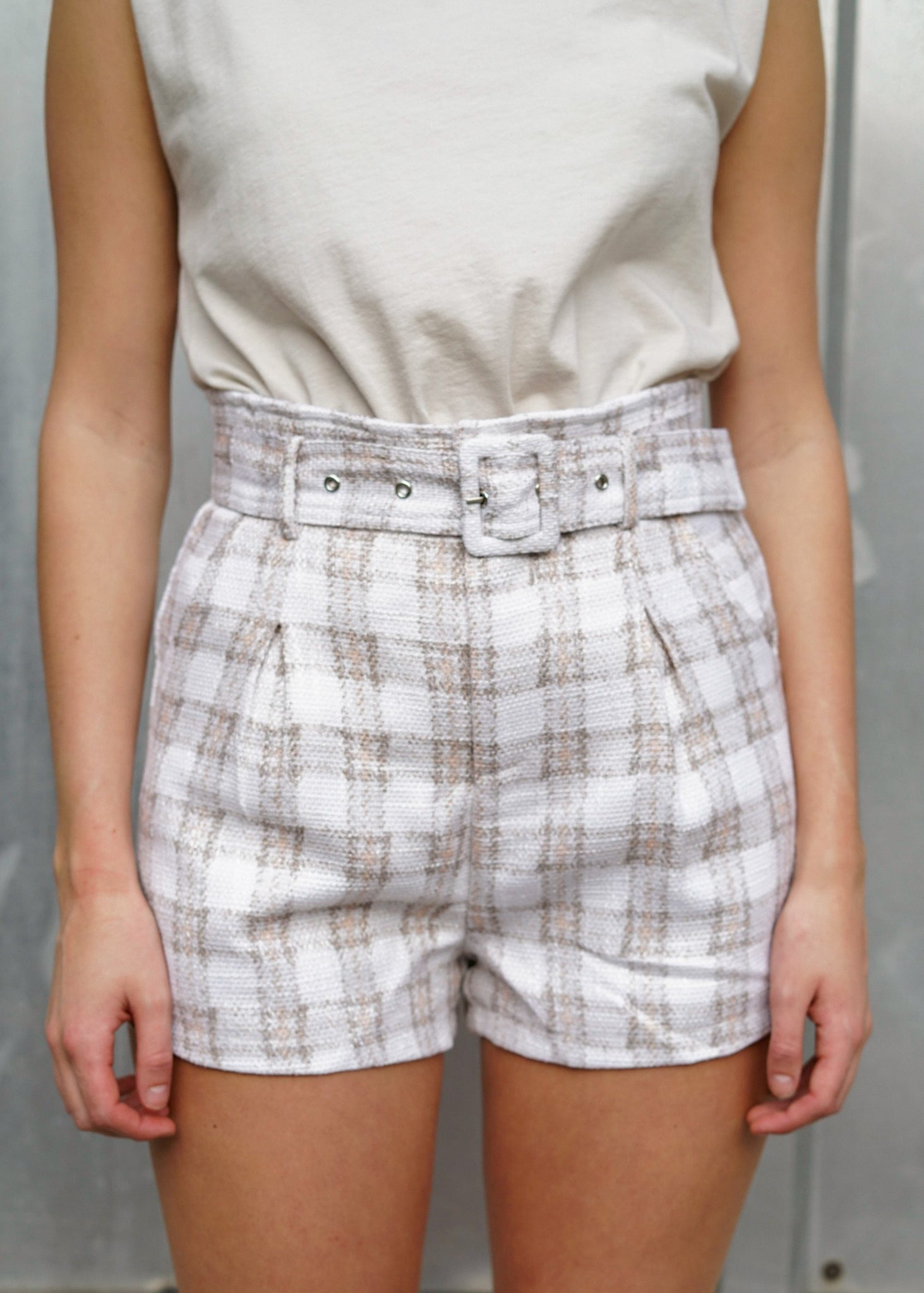 In Too Plaid Pleated Belted Shorts