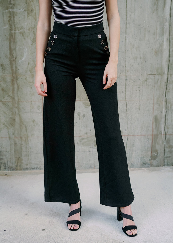 Femme Black Wide Leg Button Pants