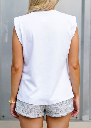 Shoulder Pad White Cotton Tank Top