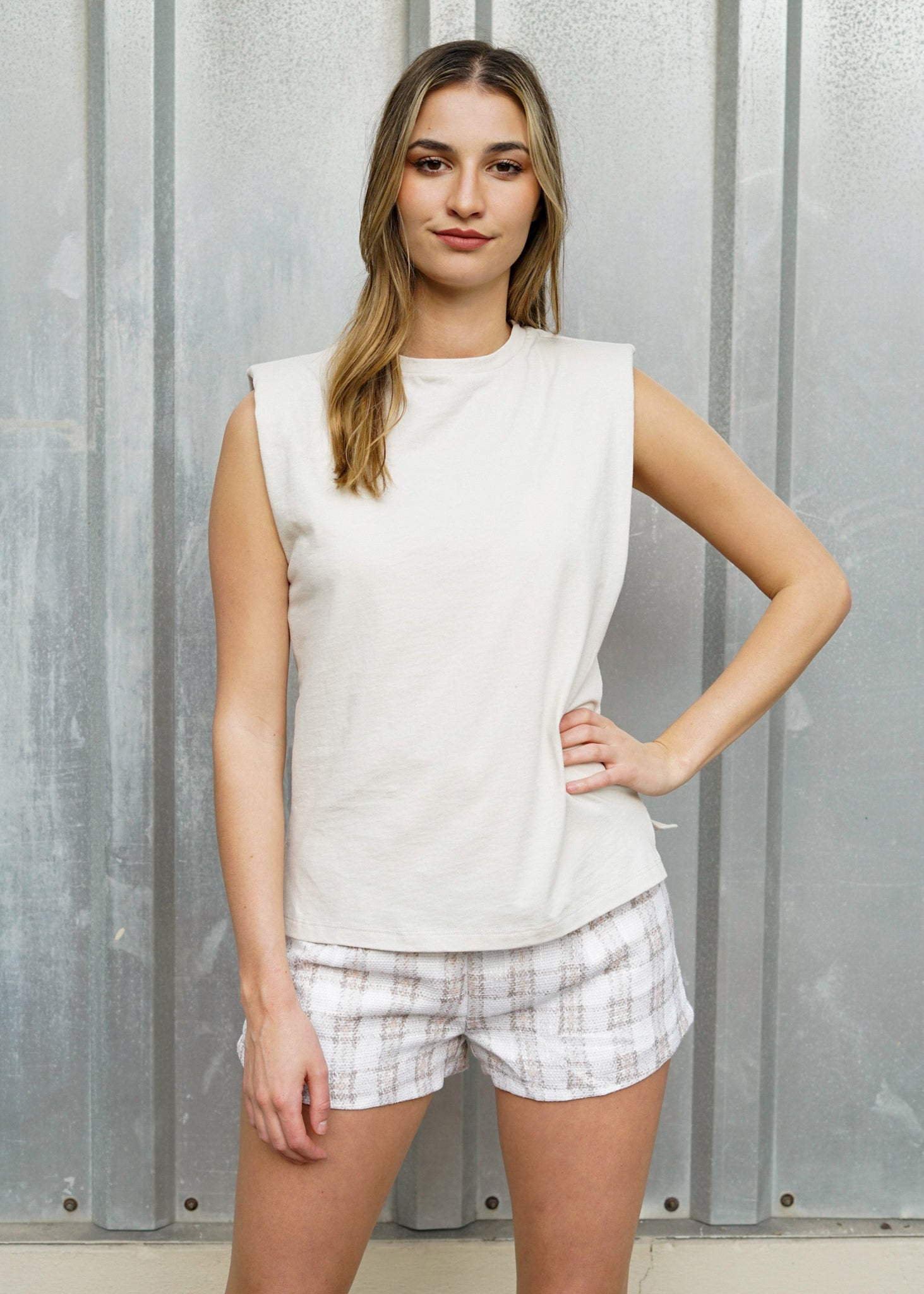 Shoulder Pad Cream Cotton Tank Top