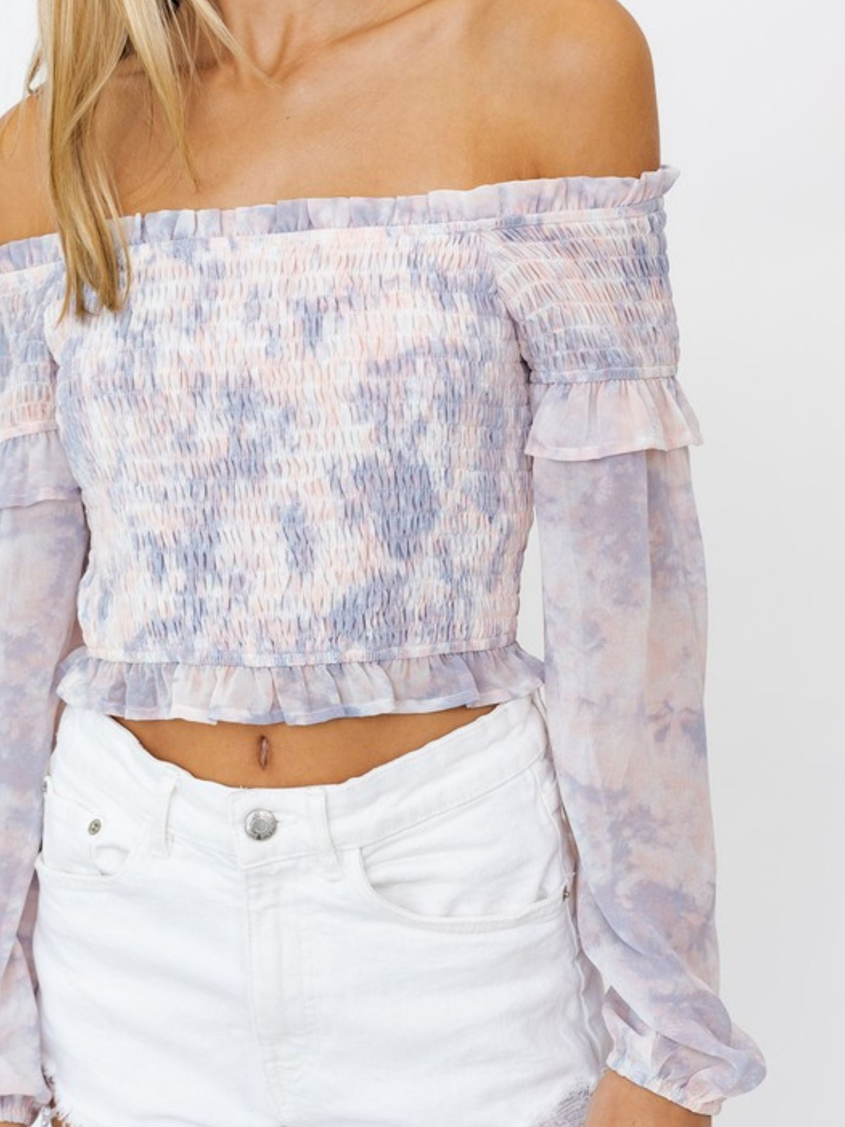 Balloon Smocked Sleeve Crop Tie Dye Top