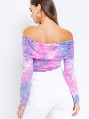 Tia Tie-Dye Off The Shoulder Bodysuit