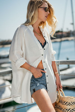 All Good Gauze Oversized Button Down Top