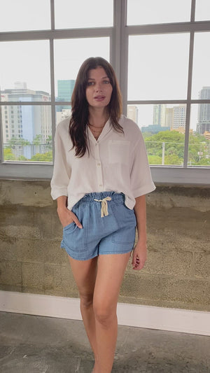 Cole Linen Blend Button Down SS Top