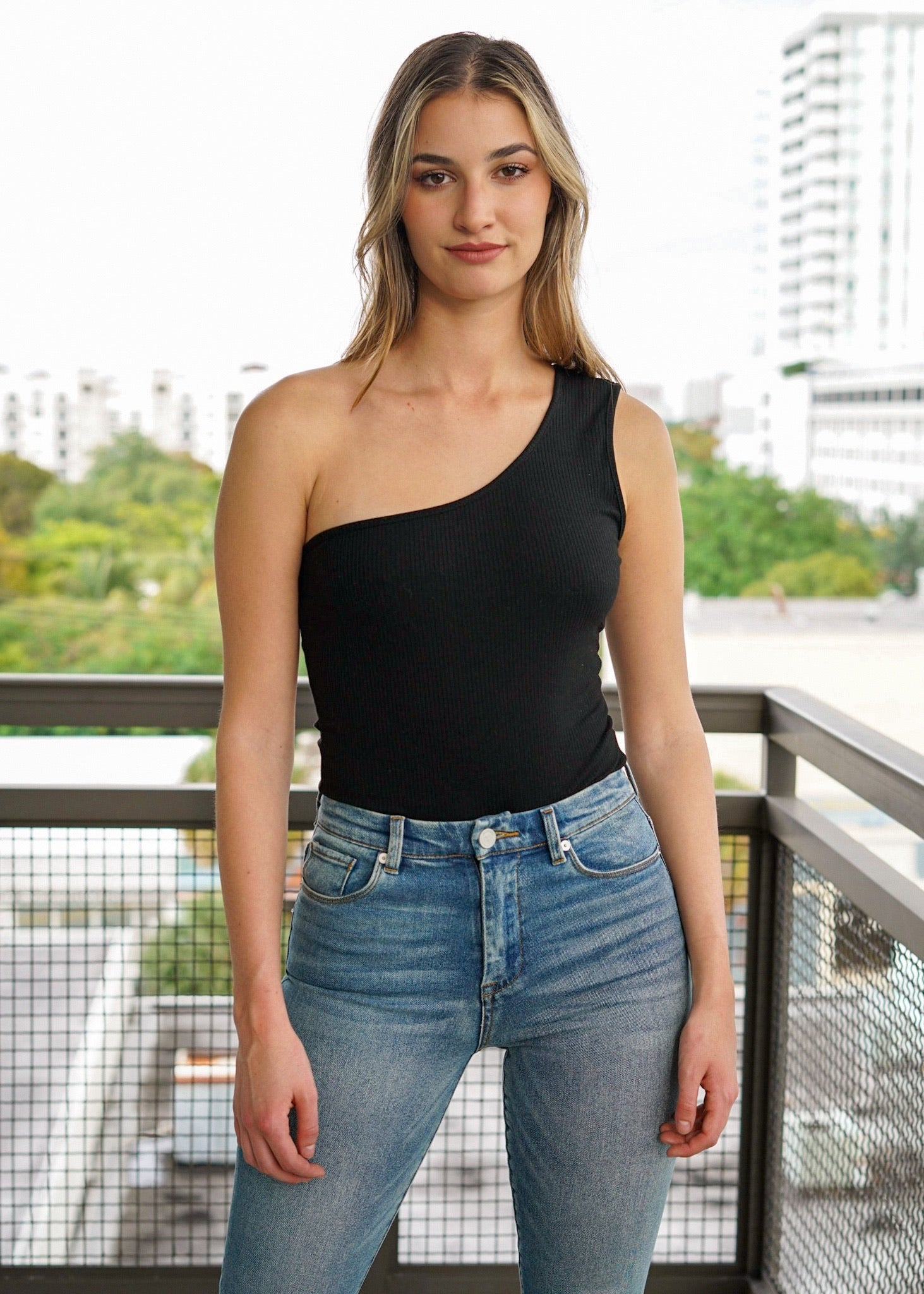One Love One Shoulder Black Ribbed Bodysuit