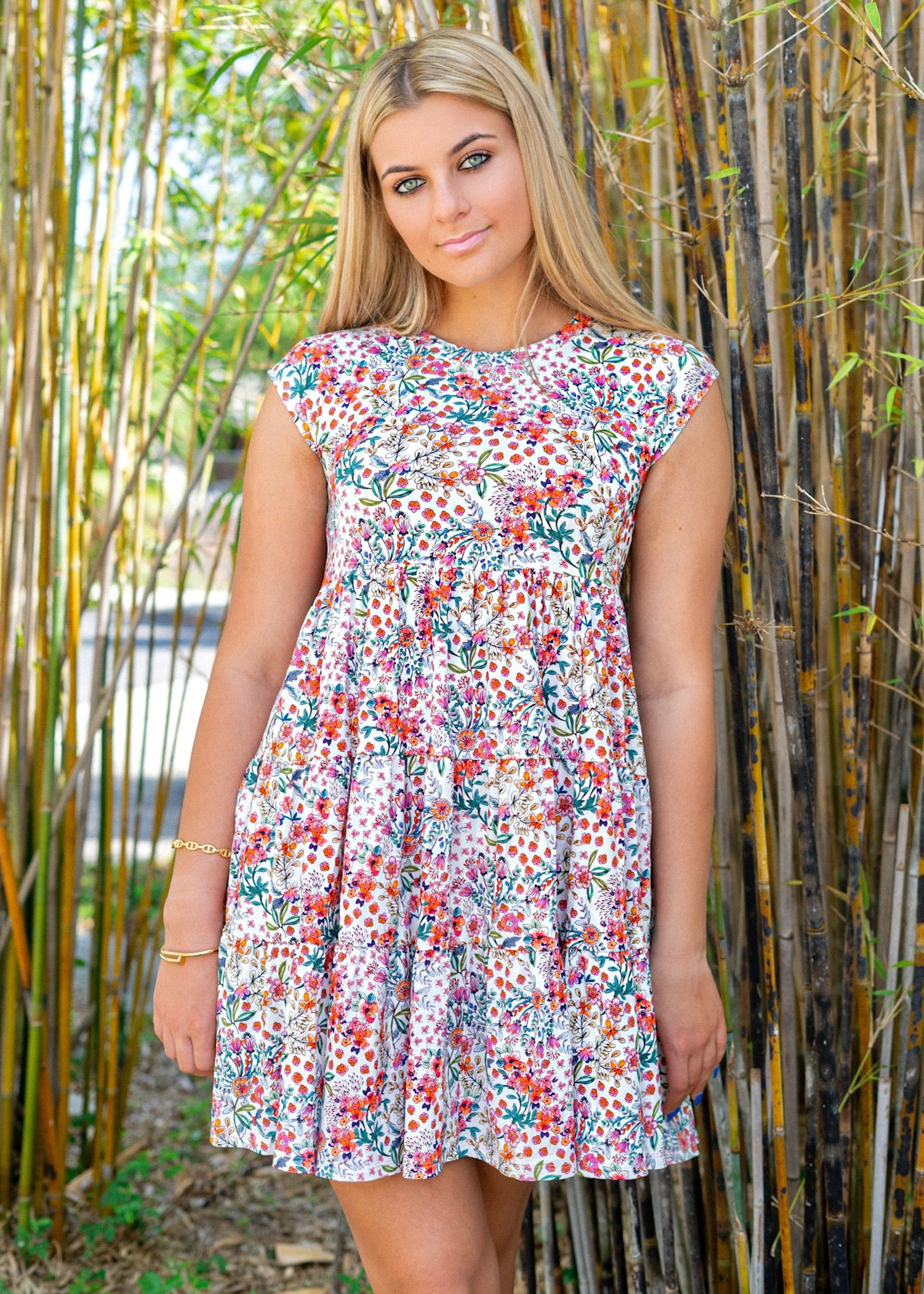 Babydoll Colorful Print Floral Tee Dress
