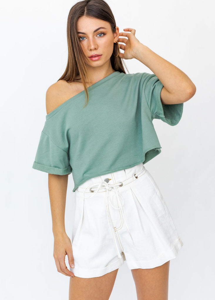 Sage Slouchy Shoulder Crop Top