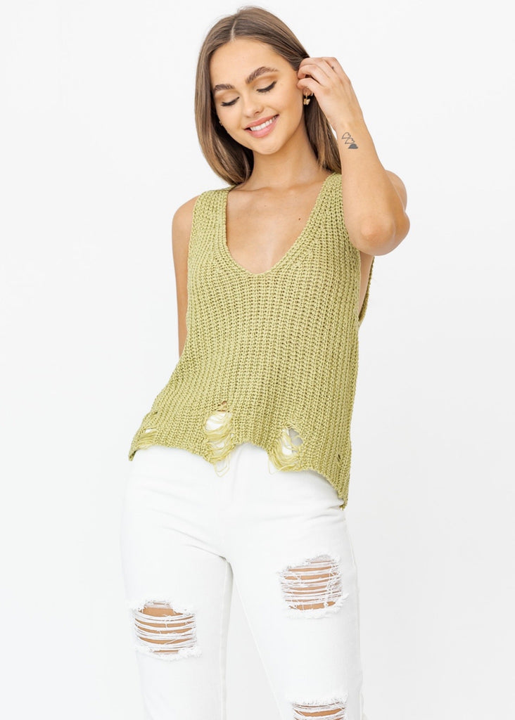 Olive You Sweater Knit Distressed Tank