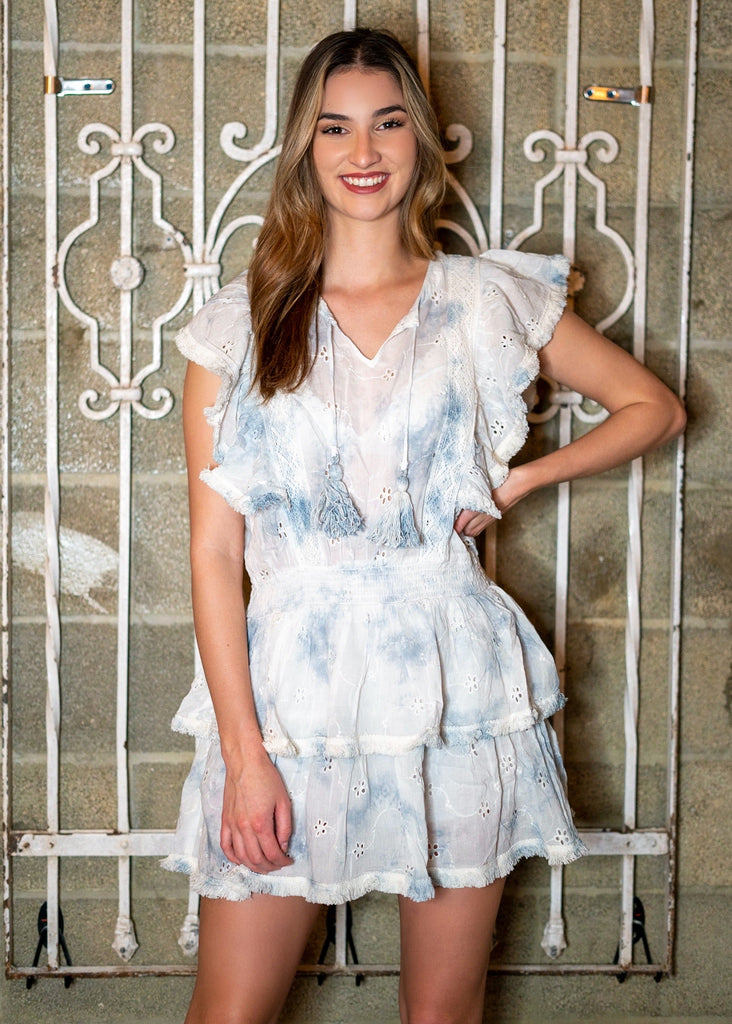 Eyelet Crochet Blue Tie Dye Dress