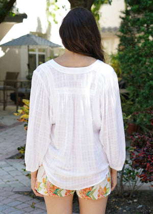 Jane White Boho Sleeved Blouse