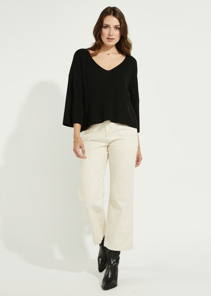Nino Black V Neckline Oversized Sweater