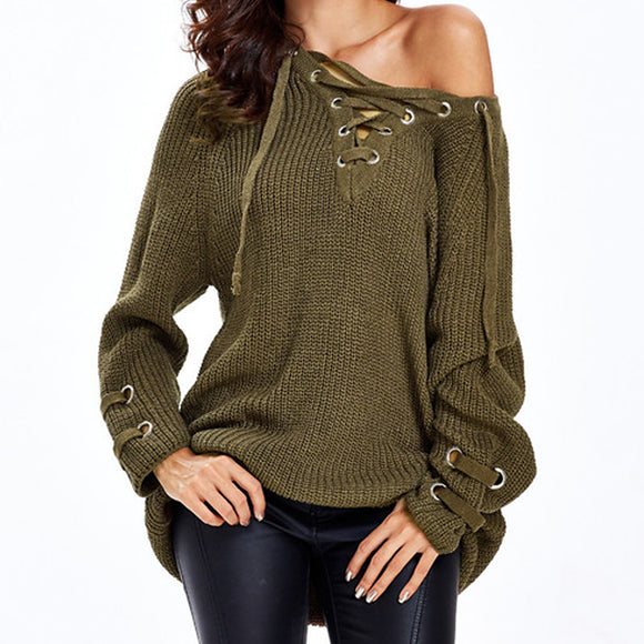 Women's Solid Colored Long Sleeve Pullover, Deep V Fall / Winter Wine / Khaki / White One-Size