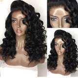 Remy Human Hair Unprocessed Human Hair Lace Front Wig style Brazilian Hair Curly Wig 130% Density with Baby Hair Natural Hairline African American Wig Unprocessed Bleached Knots Women's Short Medium