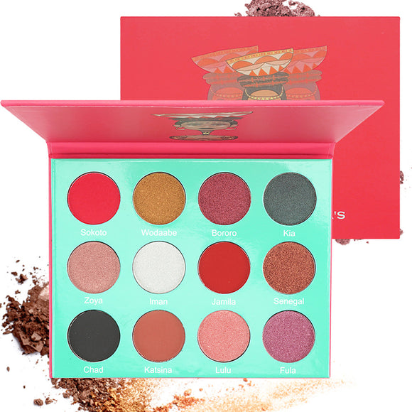 12 Colors Eyeshadow / Eyeshadow Palette Eye / Cosmetic / EyeShadow Waterproof / Matte / Lighting / Fashionable Design / Gift / Shimmer / Glitter Shine / Breathable Breathable Coloured gloss Long