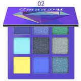 CMAADU Brand 9color Diamond Bright Eye Shadow Palette Matte Shimmer Glitter Eye Shadow Powder Cosmetic Party Makeup Kit