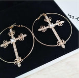 Fashion Jewelry Trendy Gold Round Large Earrings for Women Vintage Metal Crystals Cross Drop Earring Brincos Accessories