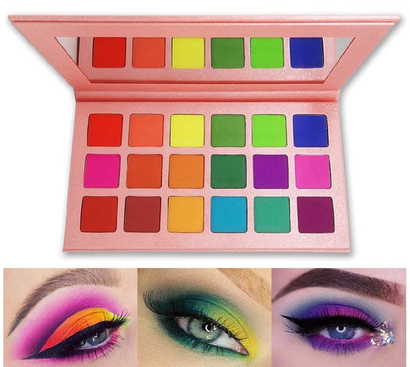 Matte Eyeshadow Palette, FindinBeauty 18 Bright Colors Highly Pigmented Makeup Eye Shadow -
