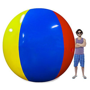 The Beach Behemoth Giant Inflatable 12-Foot Pole-to-Pole Beach Ball by Sol Coastal - White Elephant Gift
