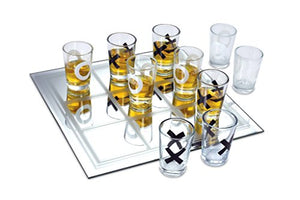 KOVOT Shot Glass Tic Tac Toe Game – 10 FULL-SIZED Shot Glasses Included - White Elephant Gift