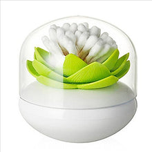 Load image into Gallery viewer, Bloss Cotton Swab Holder Q-Tips Holder Lotus Toothpick Holder Small Toothpick Case Toothpicks Organizer Bathroom Vanity Canister -Green - White Elephant Gift