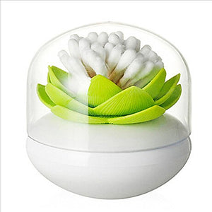 Bloss Cotton Swab Holder Q-Tips Holder Lotus Toothpick Holder Small Toothpick Case Toothpicks Organizer Bathroom Vanity Canister -Green - White Elephant Gift