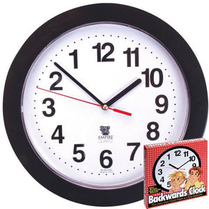 Black Backwards Wall Clock, Runs Counterclockwise and Reverse - White Elephant Gift