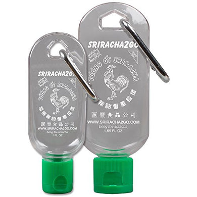 Sriracha Keychain Combo Pack (1.69 Ounce and 1 Ounce, Sauce Not Included) - White Elephant Gift