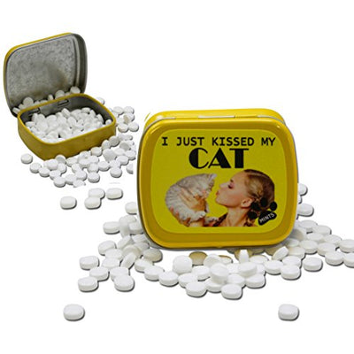 I Just Kissed My Cat Mints – Funny Gift for Cat Lovers – Crazy Cat Lady Gifts – Funny Mint Tins - Stocking Stuffers for Cat People – Wintergreen Mints by Gears Out - White Elephant Gift