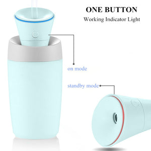 oulin's Mini Portable Cool Mist Ultrasonic Humidifier, Powered by USB, Auto Shut-Off, Extremely Quiet, Perfect for Home, Office, Car Interior and Outdoor (Blue) - White Elephant Gift