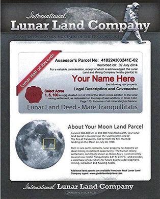 LUNAR LAND CERTIFICATE - Mail or PDF 1,5, or 100 Acres - English or Spanish - Customize When Ordering - Buy Land On the Moon (One Hundred Acres English, Card Stock Paper 8.5 x 11 inch)