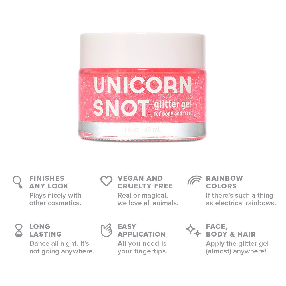 Unicorn Snot Vegan and Cruelty Free Glitter Gel for Face, Body, and Hair in Holographic Pink - White Elephant Gift