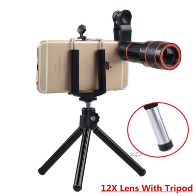 Cell Phone Camera Zoom Lens Kit, 4 in 1 HD 12X Optical Telescope Zoom Lens+ Fisheye+ Wide Angle+ Macro Lens with Universal Clip+ Tripod for iPhone 6/7/6s Plus/SE, Samsung, Google, LG and Most Phones - White Elephant Gift
